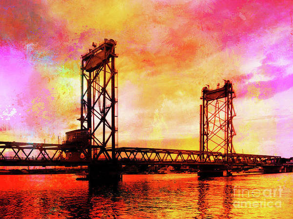 Portsmouth Memorial Bridge Abstract At Sunset Poster