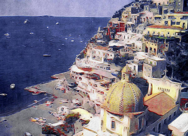 Poster featuring the mixed media Positano by Susan Maxwell Schmidt