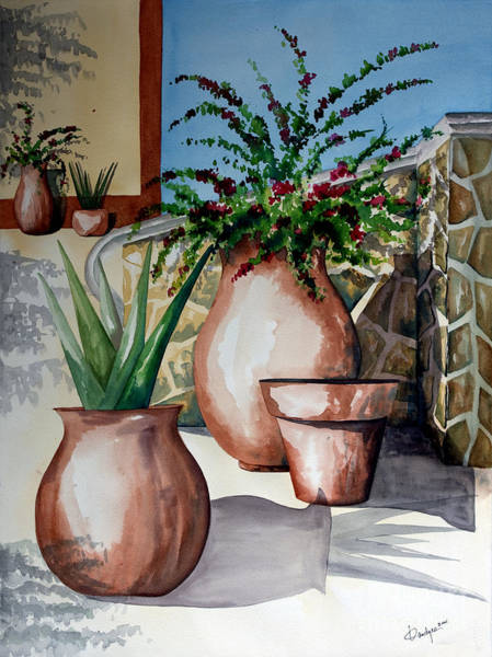 Pots And Bougainvillea Poster