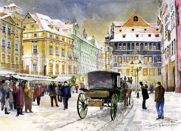 Prague Old Town Square Winter Poster