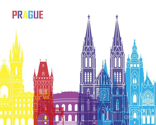 Prague Skyline Pop Poster