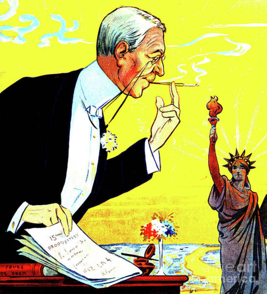 President Woodrow Wilson And The 15th Proposition For The League Of Nations Poster