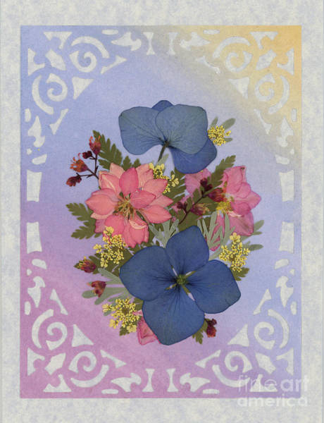 Pressed Flowers Arrangement With Pink Larkspur And Hydrangea Poster