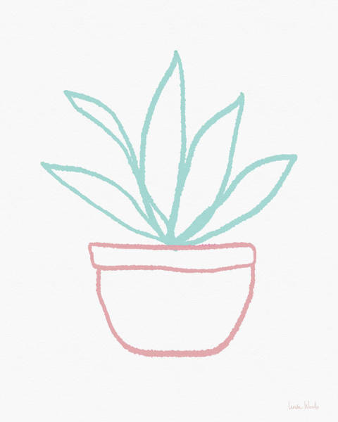 Pretty Potted Plant Illustration- Art By Linda Woods Poster