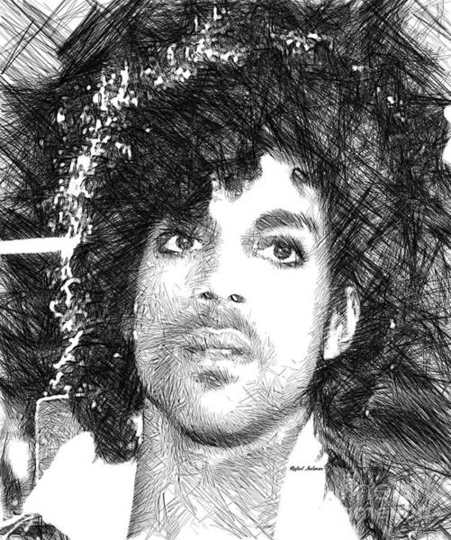 Prince - Tribute Sketch In Black And White 3 Poster