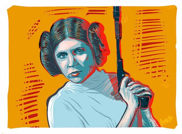 Poster featuring the digital art Princess Leia by Antonio Romero