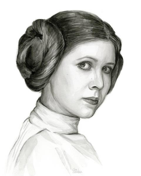 Princess Leia Watercolor Portrait Poster