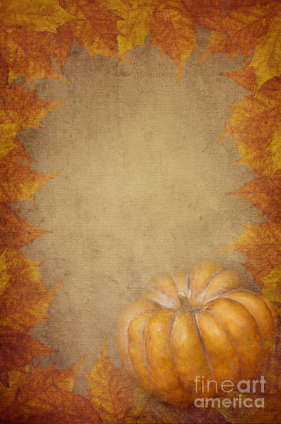 Pumpkin And Maple Leaves Poster