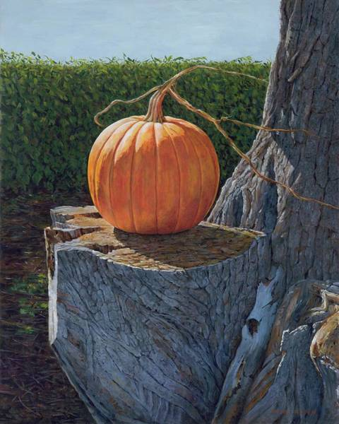 Pumpkin On A Dead Willow Poster
