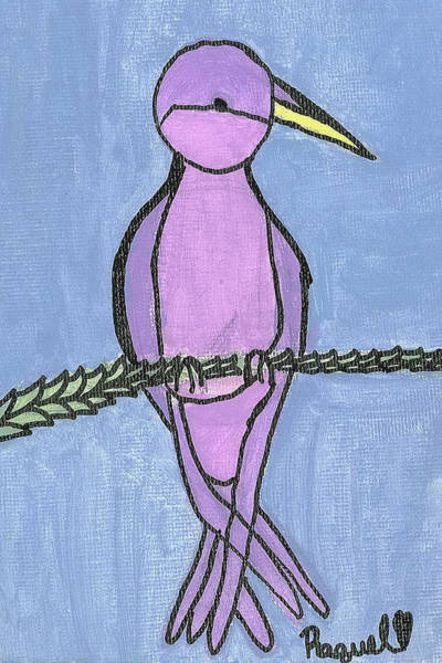 Poster featuring the painting Purple Bird Perched by Fred Hanna