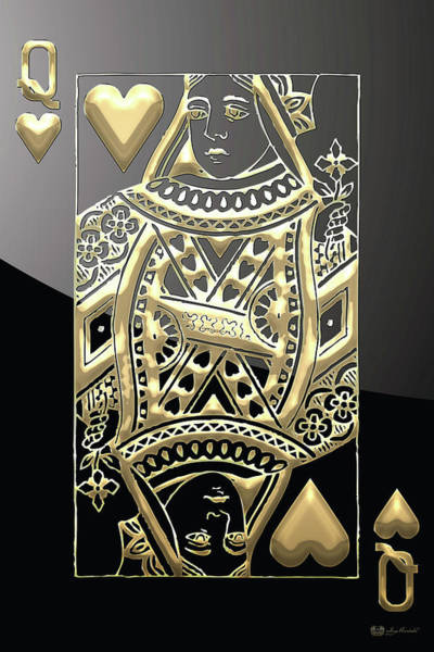 Queen Of Hearts In Gold On Black Poster