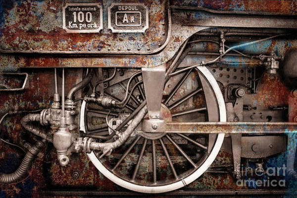 Rail Wheel Grunge Detail,  Steam Locomotive 06 Poster