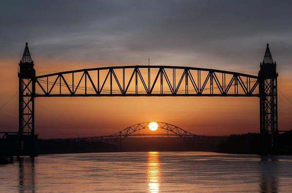Railroad Bridge Framing The Bourne Bridge During A Sunrise Poster