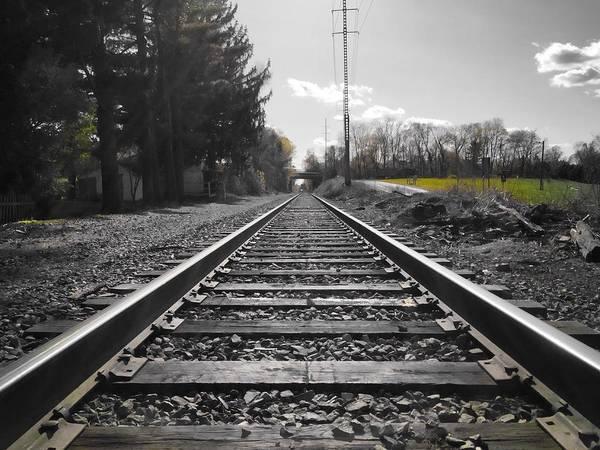Railroad Tracks Bw Poster