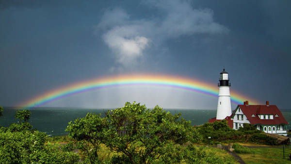 Rainbow At Portland Headlight Poster