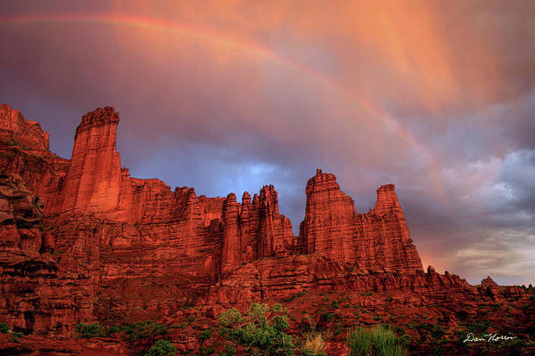 Rainbow In Virga Over Fisher Towers Poster