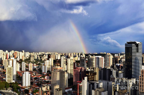 Rainbow Over City Skyline - Sao Paulo Poster