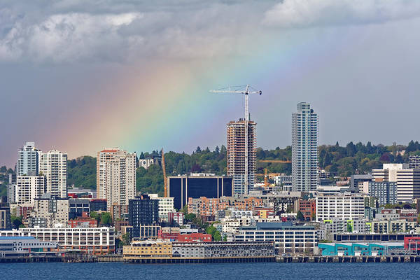 Rainbow Over Seattle Poster