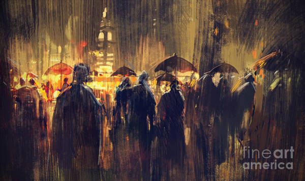 Poster featuring the painting Raining by Tithi Luadthong