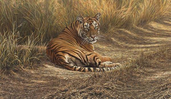 Poster featuring the painting Ranthambore Roadblock by Alan M Hunt