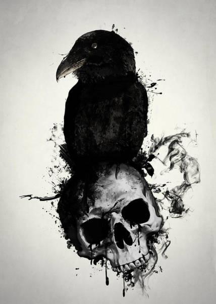 Raven And Skull Poster