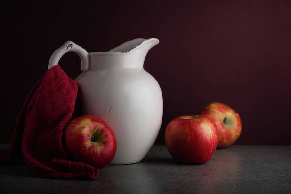 Red And White Apple Still Life Poster