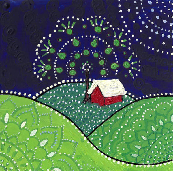 Poster featuring the painting Red Barn At Night by Caroline Sainis