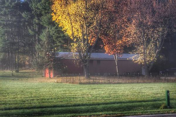 0041 - Red Barn On A Foggy Fall Morning Poster