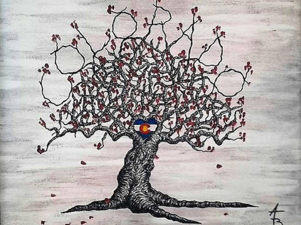 Poster featuring the drawing Red Colorado Love Tree by Aaron Bombalicki