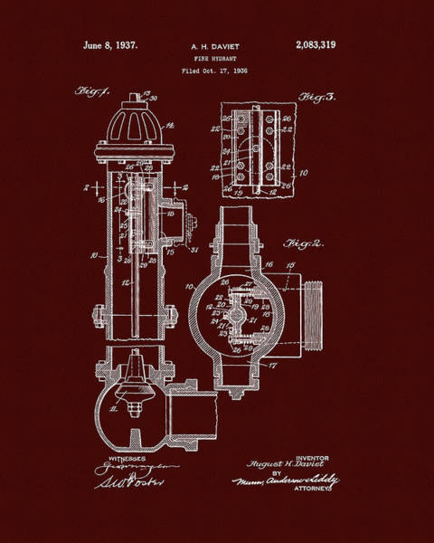 Red Fire Hydrant Patent Poster