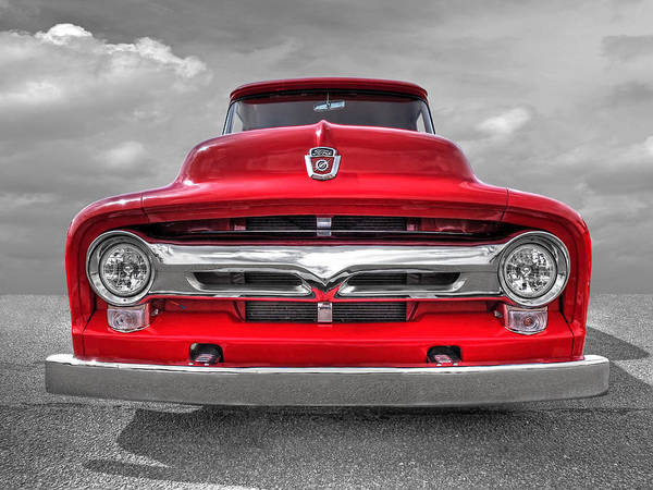 Red Ford F-100 Head On Poster