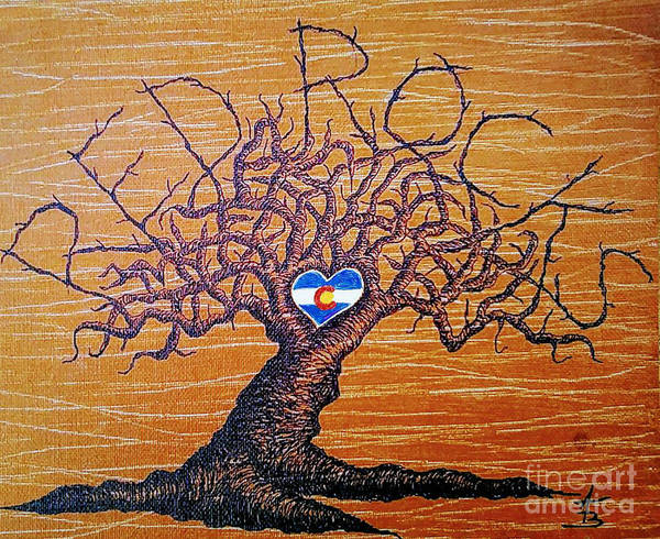 Poster featuring the drawing Red Rock Colorado Love Tree by Aaron Bombalicki