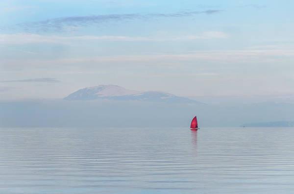 Red Sailboat On Lake Poster