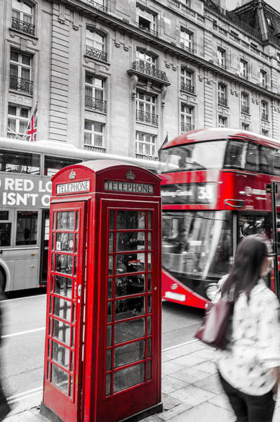 Red Telephone Box With Red Bus In London Poster
