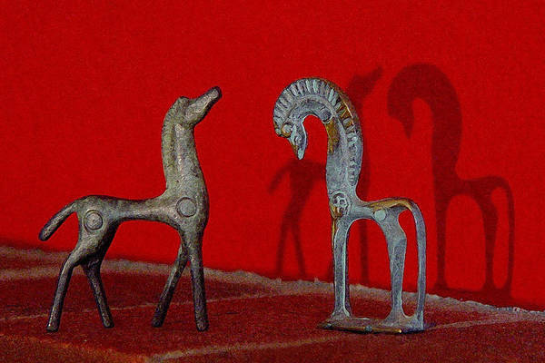 Red Wall Horse Statues Poster