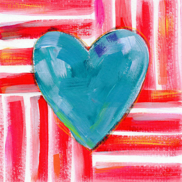 Red White And Blue Love- Art By Linda Woods Poster
