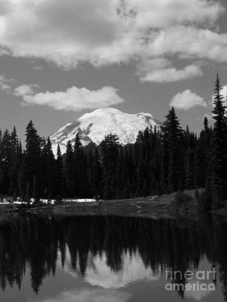 Mt. Rainier Reflection In Black And White Poster