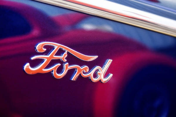 Reflections In An Old Ford Automobile Poster