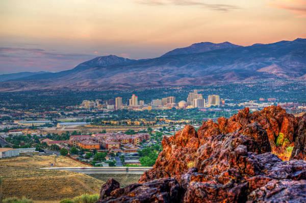 Reno Nevada Cityscape At Sunrise Poster