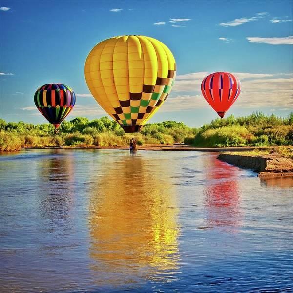 Rio Grande Balloon Reflection, Albuquerque, Nm Poster