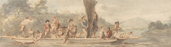 River Ferry With Many Passengers And Animals Poster
