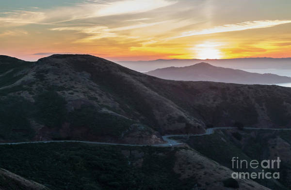 Road On The Edge Of The Mountain With Sunrise In The Background Poster