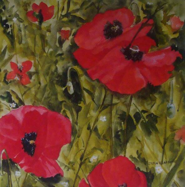 Poster featuring the painting Roadside Poppies by Jean Blackmer