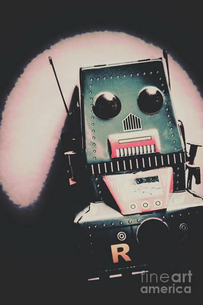 Robotic Mech Under Vintage Spotlight Poster