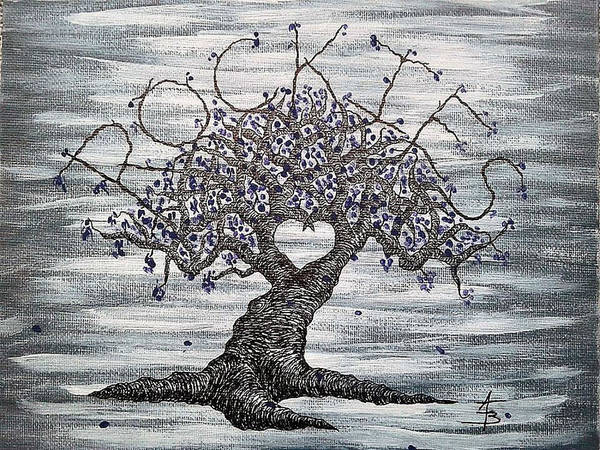 Poster featuring the drawing Rockies Love Tree by Aaron Bombalicki