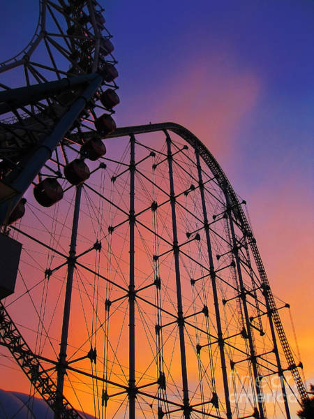 Roller Coaster At Sunset Poster