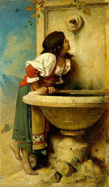 Roman Girl At A Fountain Poster