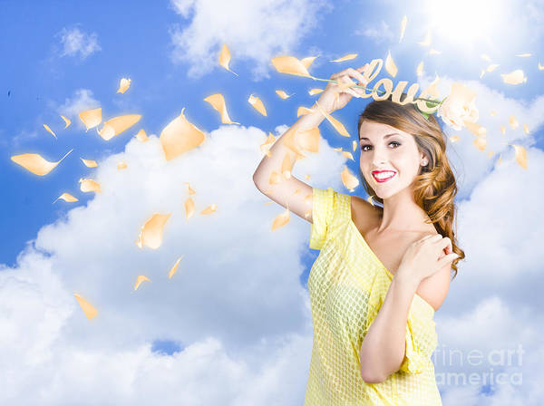 Romantic Woman Dreaming Of A Sky Filled Romance Poster
