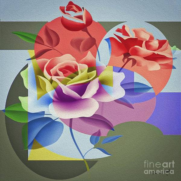 Poster featuring the digital art Roses For Her by Eleni Mac Synodinos