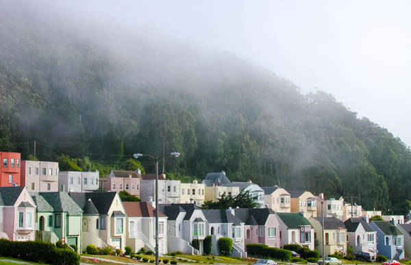 Row Houses In Fog Poster